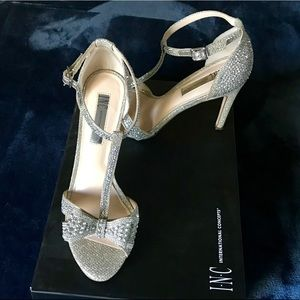 INC Ressie Champagne T-strap bridal heels 7
